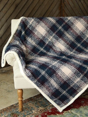 Navy Plaid Throw Blanket-Final Sale