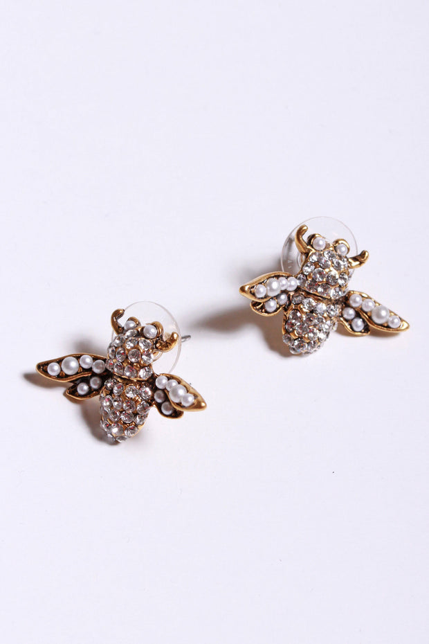 Yochi Crystal Bee Earrings Gold EP1430