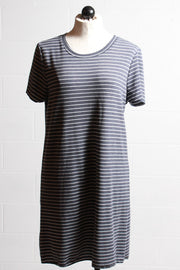 Nally and Millie Striped Short Sleeve Dress Navy White F314143