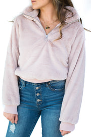 Faux Fur Half Zip Sweat Shirt Pink