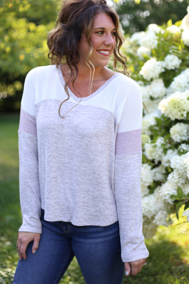 TAUPE/MAUVE TOP WITH THERMAL