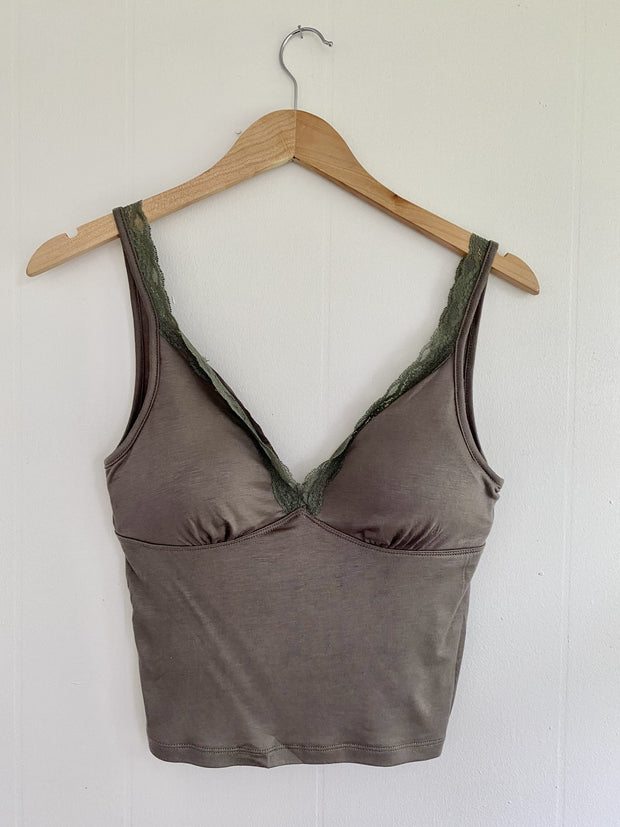 Need You Most Olive Lace Cami