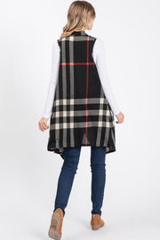 Turn To You Black Plaid Vest Cardigan
