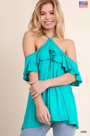 Umgee Open Shoulder Top with Short Ruffled Sleeves