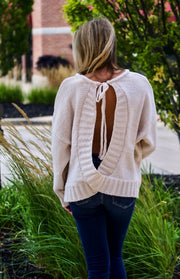 Cream Open Back Sweater