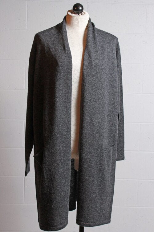 Two Danes Sophia Long Open Cardigan Charcoal