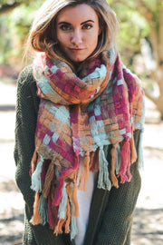 Patchwork Woven Multicolor Tassel Scarf - Light Blue