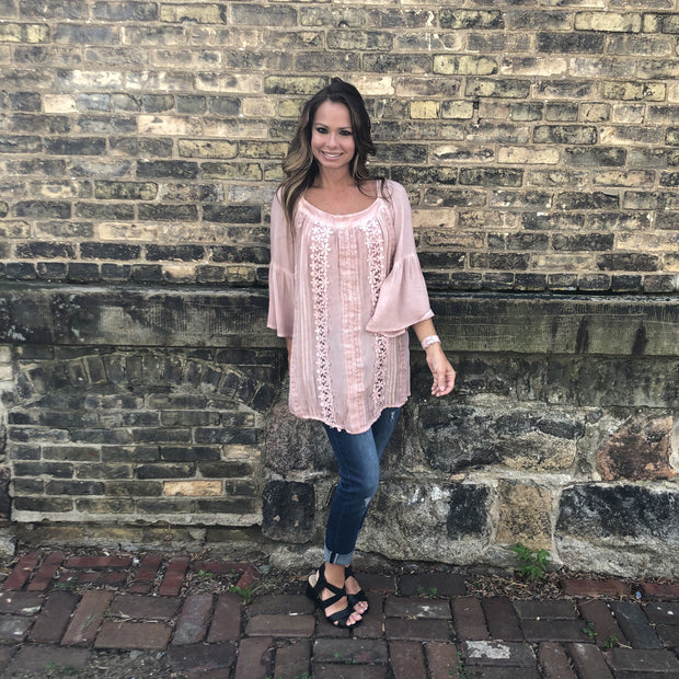 Blush Off The Shoulder Crochet Accent Top