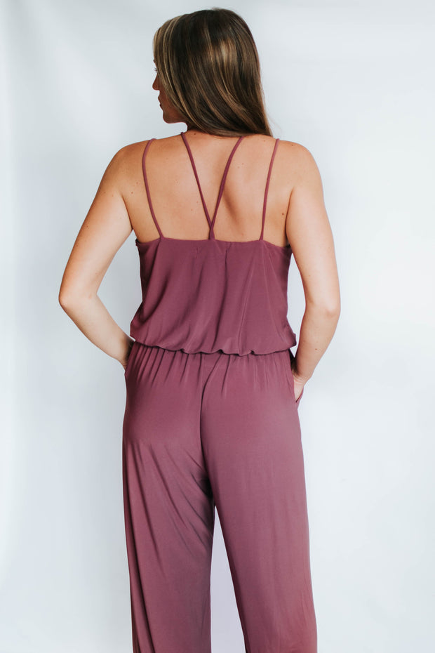 Purple Cross Front Jumpsuit