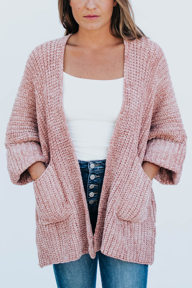 Dusty Pink Cable Knit Cardigan