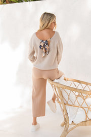 BOAT NECK SWEATER WITH FLORAL BOW TIE