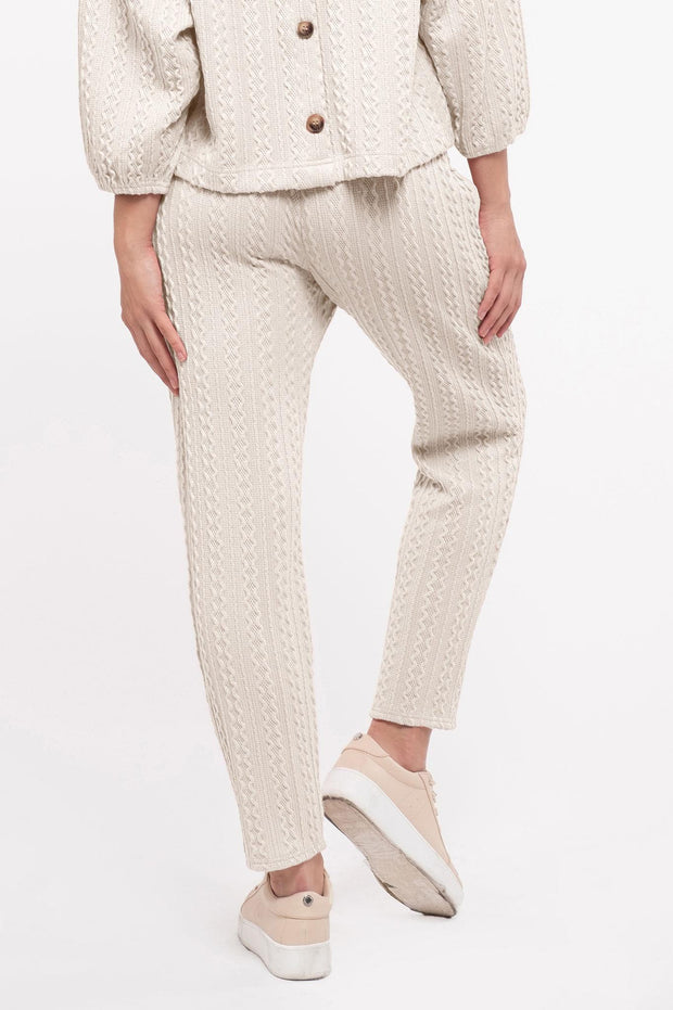 Knit on the Town Cream Lounge Pants