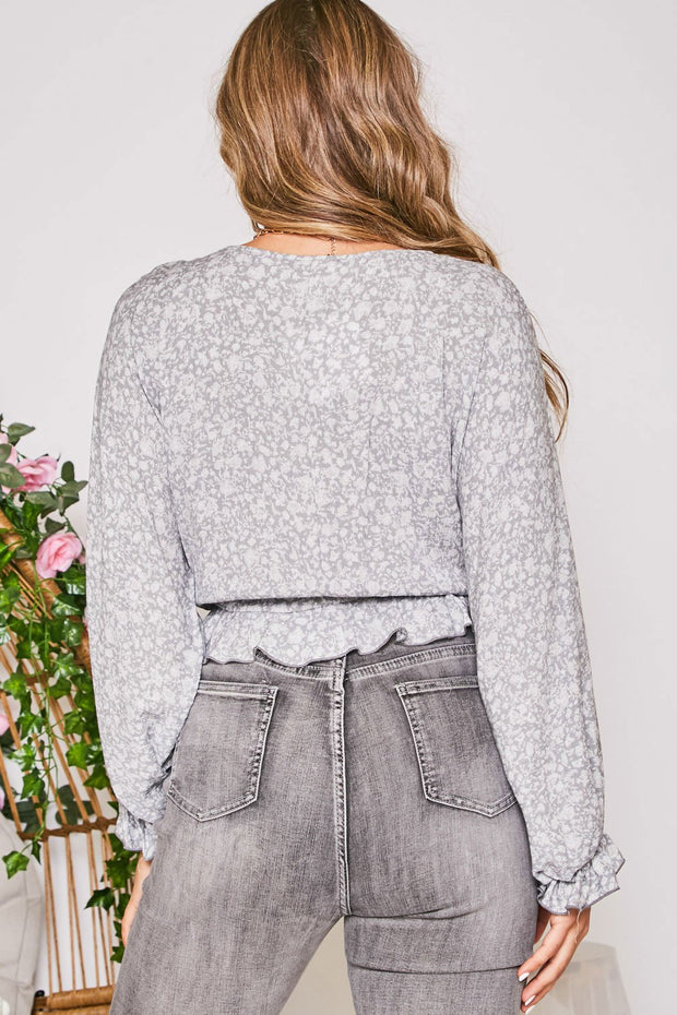 For the Night Grey Floral Top