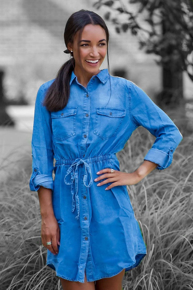 Denim Button Up Tie Waist Dress Tunic