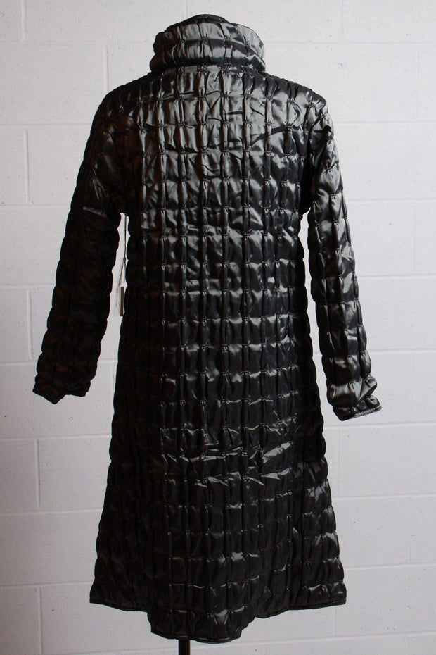 UBU Clothing Quilted Zip Front Full Length Coat Silver 19201