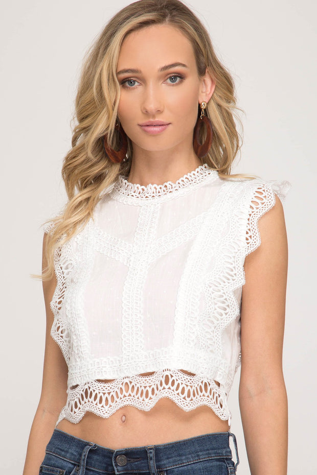 Textured Lace Detail Crop Top