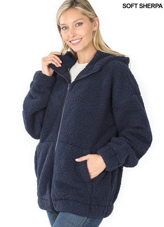 Soft Sherpa Hooded Zipper Front Jacket - Navy - FINAL SALE