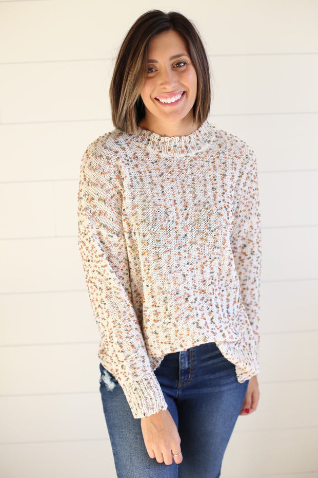IVORY SWEATER WITH COLOR MIX DETAIL