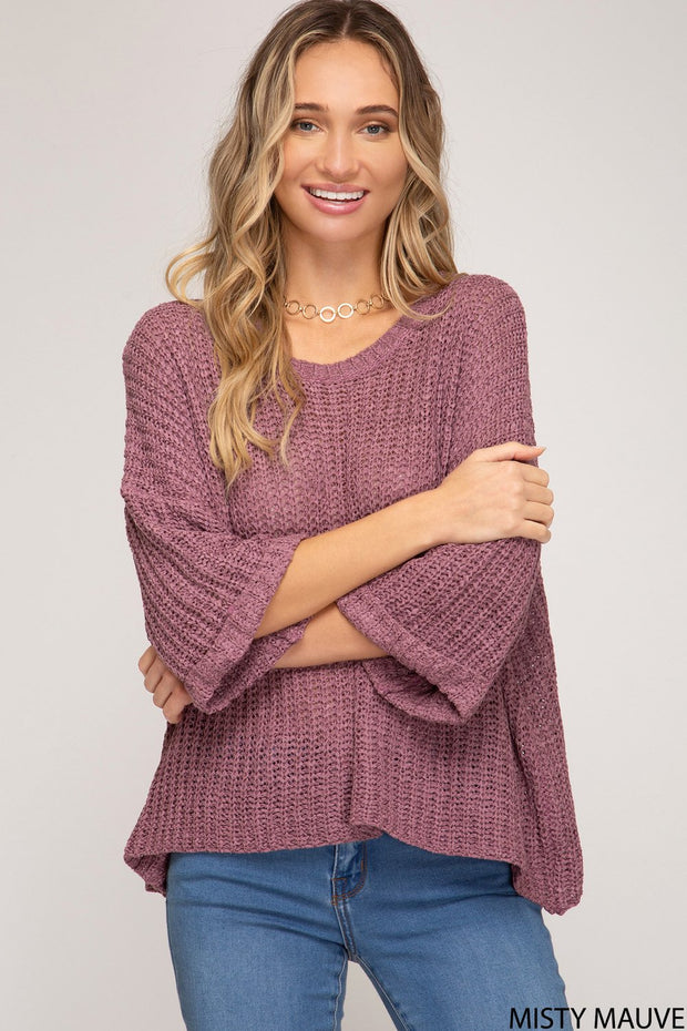 3/4 Sleeve Knit Sweater