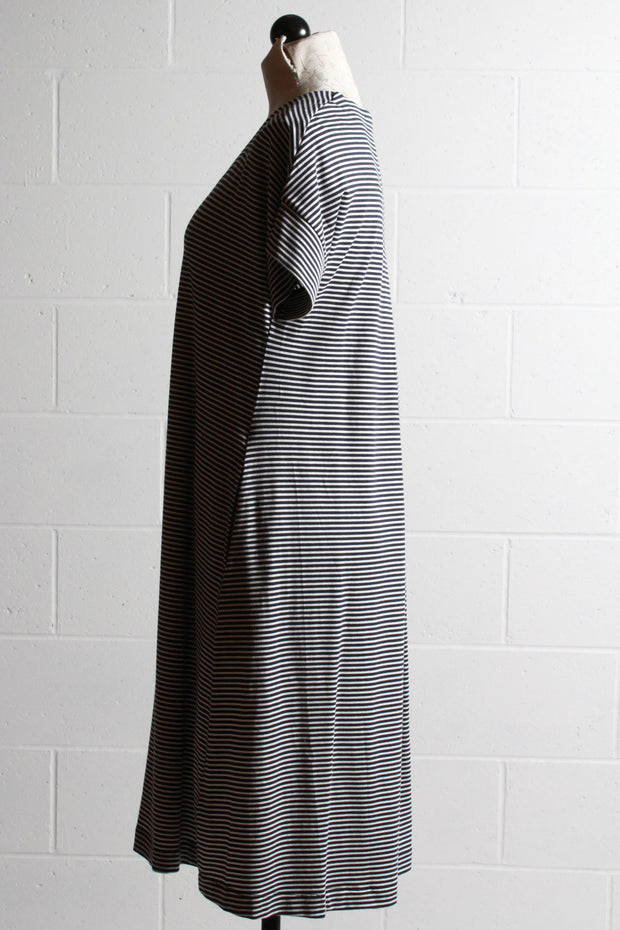 Two Danes Baja Striped Dress Dark Navy Soft White