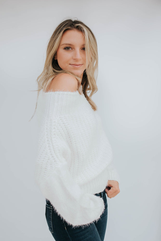 Cream Off The Shoulder Sweater