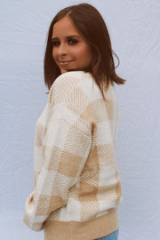 From Rome Check Sweater // Taupe