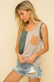 Back To You Teal Color Block Tank