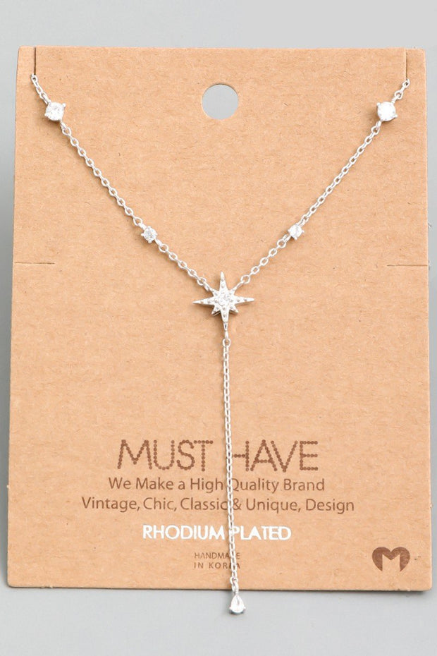 North Star Charm Lariat Necklace