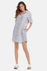 Fifteen Twenty Striped Shirtdress Navy White