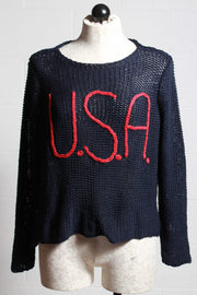 Wooden Ships USA Bateau Sweater Indigo Red