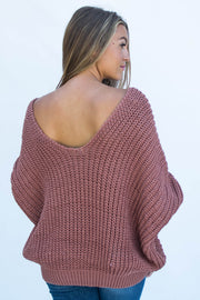 Dusty Cedar Bat Wing Sweater