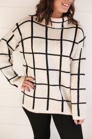 GRID MOCK NECK SWEATER