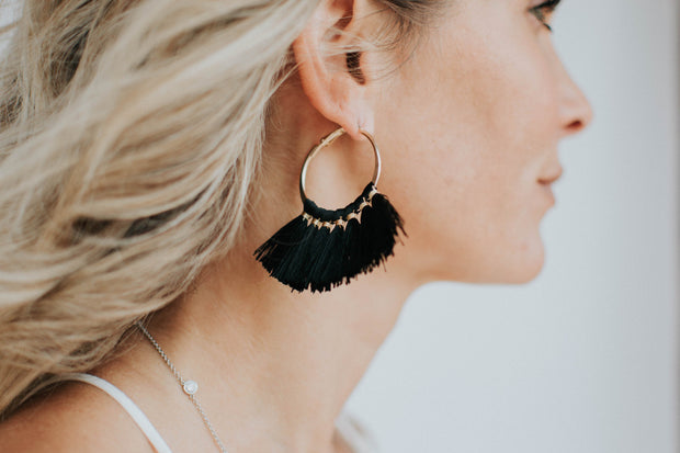 Black & Gold Tassel Hoop Earrings