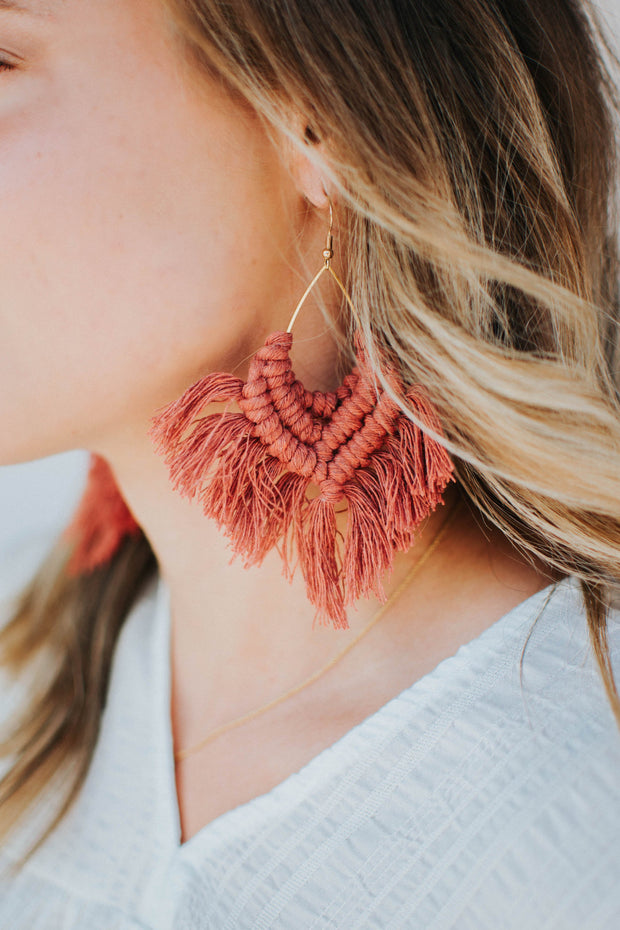 Handmade Macramé Fringe Earrings - Burnt Burgundy