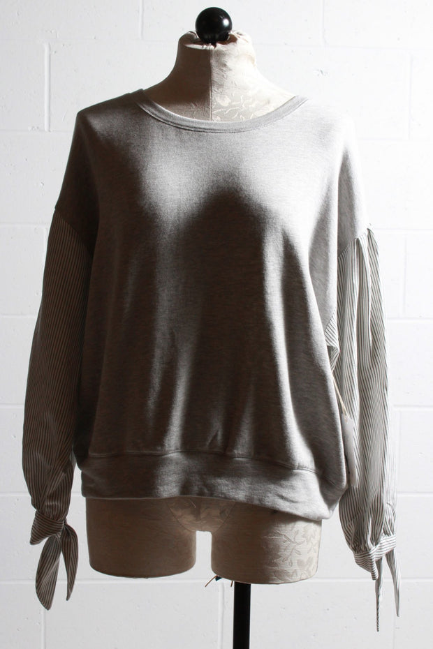 Fifteen Twenty Contrast Tie Sleeve Top Light Heather Grey