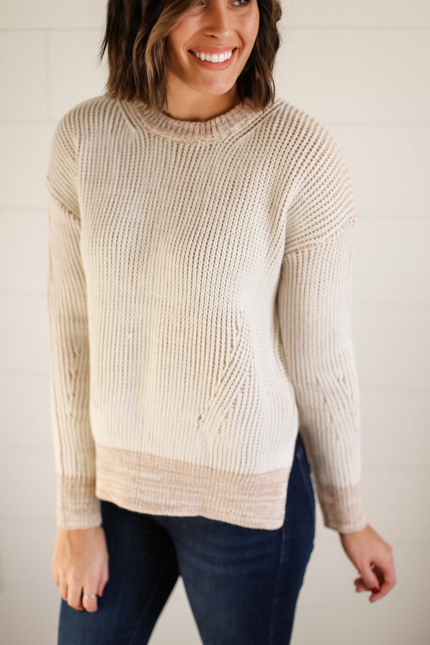 CHUNKY TRIM SWEATER (BEIGE)