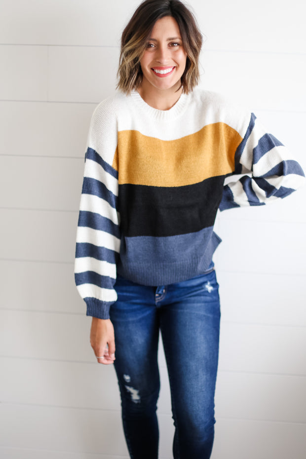 BALLOON SLEEVE COLORBLOCK SWEATER