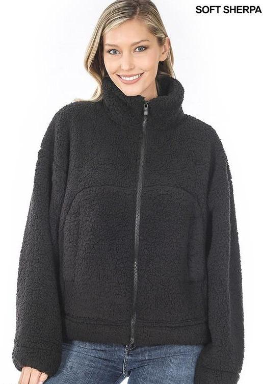 Soft Sherpa Drawstring Hem Zipper Front Jacket - Black