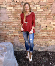 Rusty Red 1/2 Sleeve Top