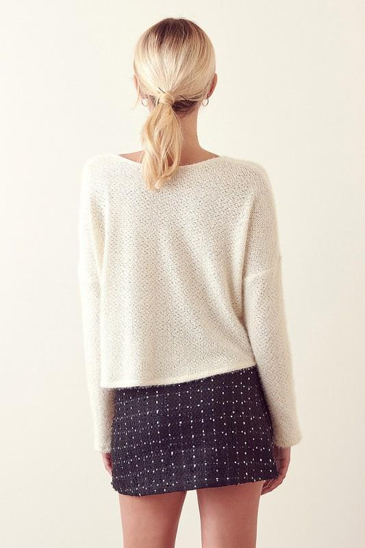 Cropped V-Neck Sweater-Final Sale
