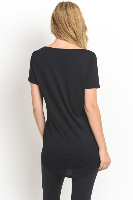 In This Moment Tie-Front Black Tee