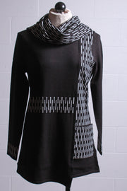 Elena Wang Tunic with Scarf Black White A36003A