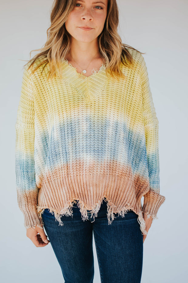 Distressed Hem Tie Dye Sweater