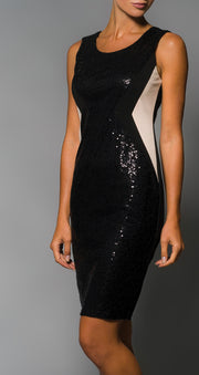 Elena Wang Sequined Dress Black