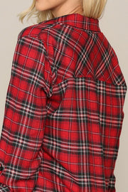 Places to Go Plaid Red Button Up