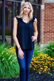 Black Ruffle Sleeve Tank