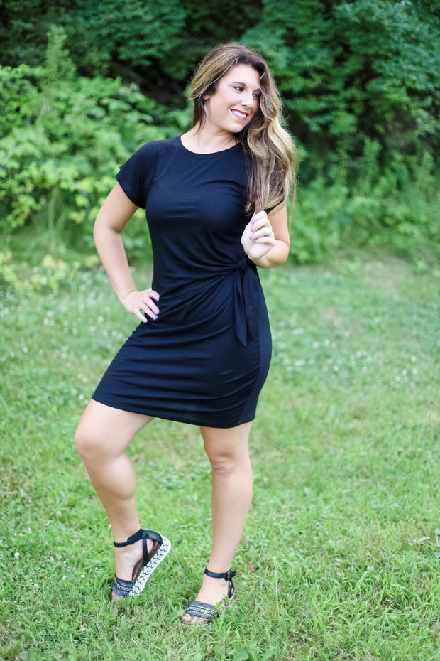 BLACK TSHIRT DRESS WITH SIDE TIE