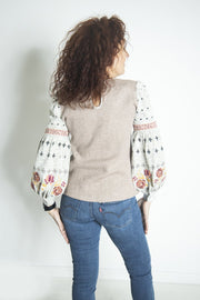True Romance Rib Knit Embroidered Top