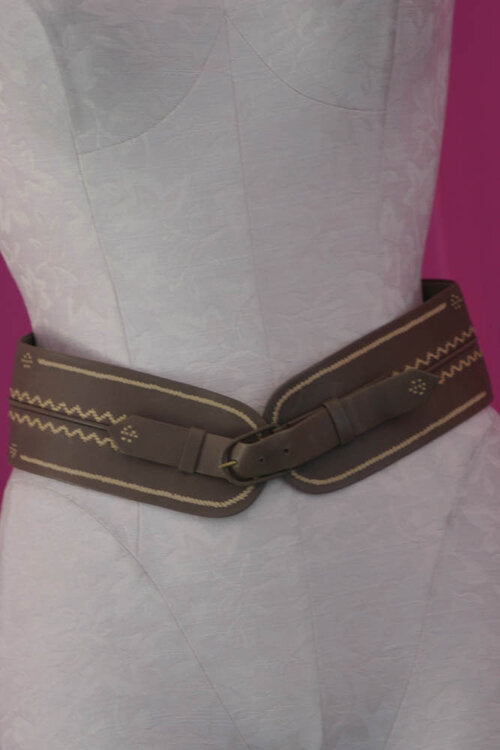 Hoss Intropia Taupe Embroidered Belt