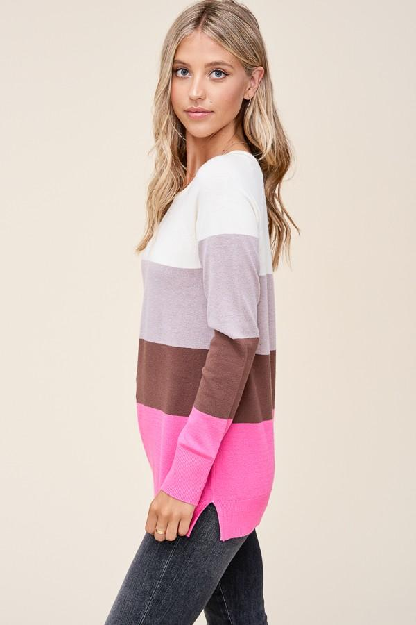 Slow Dance Ivory & Hot Pink Sweater